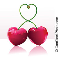 Cherry love place card - Two Cherry hearts and cherry sticks...