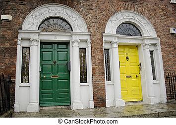 Dublin Georgian doors - green and yellow Georgian Dublin...