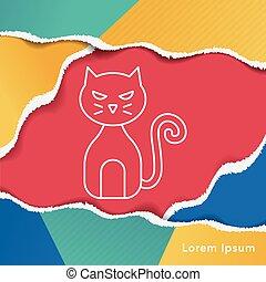 halloween cat line icon