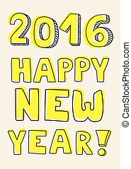 Happy New Year 2016 hand drawn wish