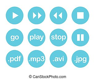 Play button or flat blue web vector