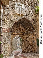 medieval city gate in Atessa, Abruzzo, Italy - medieval city...