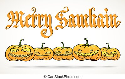 Merry Samhain greeting card - Hand calligraphy inscription...