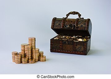 Treasure - Little chest filled with small, copper coins.