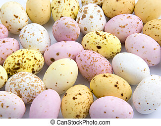 eastereggs - A close up of miniature speckled chocolate...