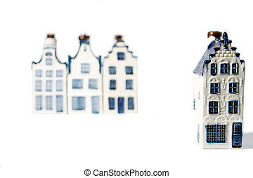 Our house - One Delft blue porcelain house standing out