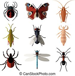 Set of insect flat icons1 - Vector image of set of insect...