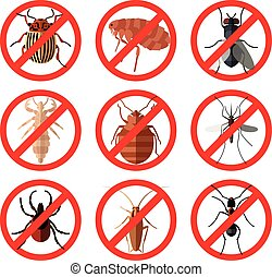 Set of pest insect icons - Vector image of set of flat icons...
