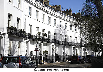 Terraced houses in London - white houses in kensington...