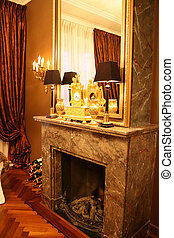 Antique interior - Antique fire place in empire interior