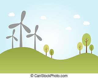 Wind power plants - Illustration of wind power plants on...