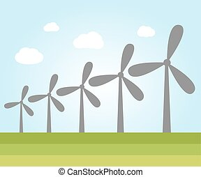 Wind power plants - Illustration of wind power plants with...