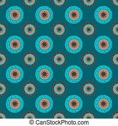 Turquoise flowers abstract seamless pattern background