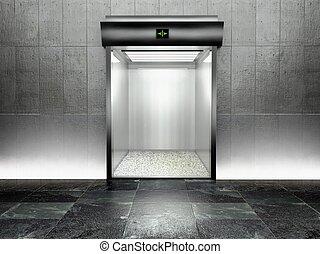 3d modern elevator with open door