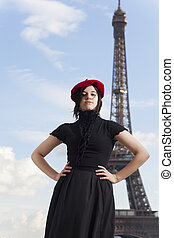 french woman and eiffel tower
