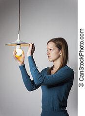 光, 婦女, 年輕, 燈泡