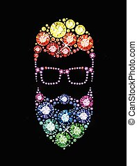 Gem Bearded Man with Glasses - Bearded Man with Glasses made...