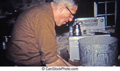 1965: Man enjoying cream dip on - Original vintage 8mm film...