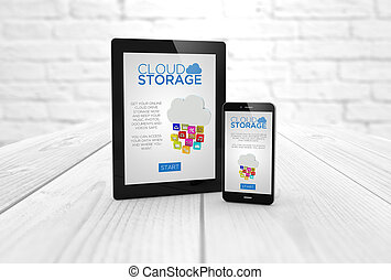 cloud storage tablet and smart phone - digital generated...
