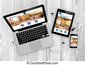 responsive booking website - Digital generated devices over...