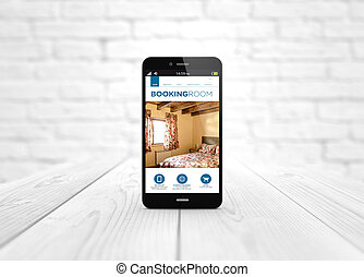 smart phone booking website over wooden table - modern...