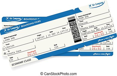Pattern of two airline boarding pass tickets
