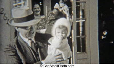 1938: Family leaving suburbs headed - Original vintage 8mm...