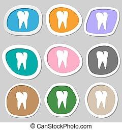 tooth icon. Multicolored paper stickers. Vector
