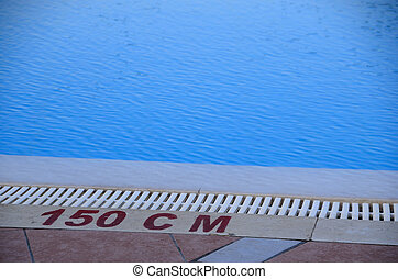 pool with 150 cm - blue pool with inscription 150 cm