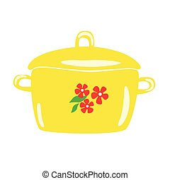 Yellow enamel pot with floral patterns. Vector cartoon.
