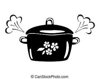Casserole with steam. Vector black and white image. Cooking...