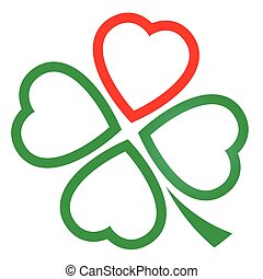 Cloverleaf Hearts Outline Icon - Cloverleaf made of one red...