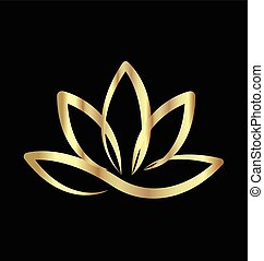 Gold lotus logo vector