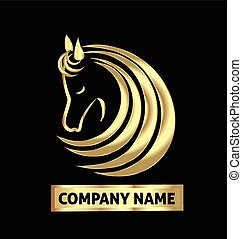 Gold horse logo identity business card vector design