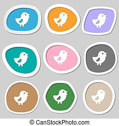 chicken, Bird icon symbols. Multicolored paper stickers....