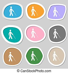 blind icon symbols Multicolored paper stickers Vector...