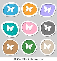 butterfly icon symbols. Multicolored paper stickers. Vector
