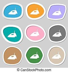 Iron icon symbols. Multicolored paper stickers. Vector