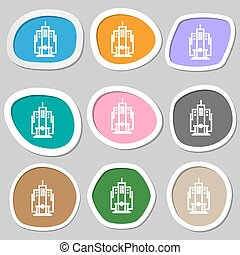skyscraper icon symbols. Multicolored paper stickers. Vector