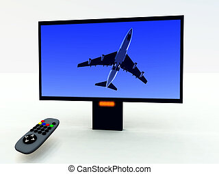 TV Control And TV - A image of a television remote control...