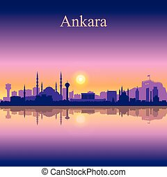 Ankara city skyline silhouette background