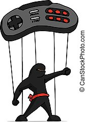 Ninja marionette played by game controller - Cartoon...