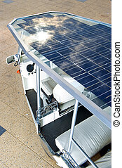 Solar powered cart - Solar panels on the roof of a modern...
