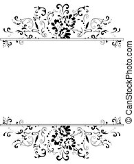 floral frame in black and white - illustration of vertical...