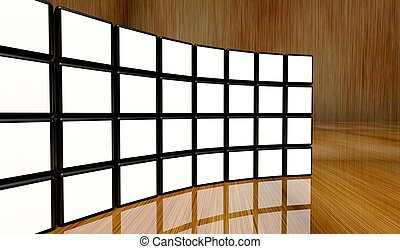 White screen video wall of many cubes on wooden background