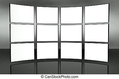 White screen video wall background