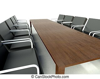 Conference table and chairs, meeting room