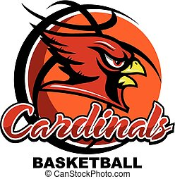 cardinals basketball team design with mascot head inside...