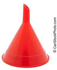 funnel - red plastic kitchen funnel against white background...