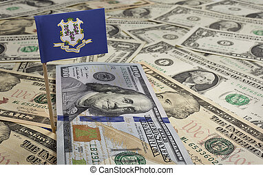 Flag of Connecticut sticking in various american banknotes.(series)